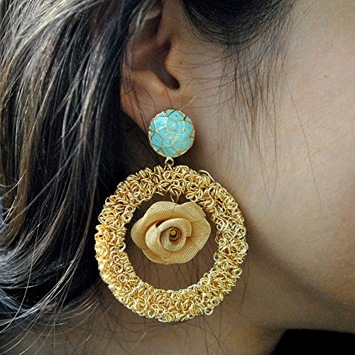 Abhika Creations Women's Rose Showstopper Hand-Made Earrings With Big Round Flat Alloy Mesh Ensemble With A 3D Mesh Rose Dangling At TheCenter ()