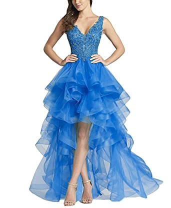 Liyuke Ruffled Organza Vintage Prom Dresses High Low Appliqued Wedding Party Dress Blue US 2