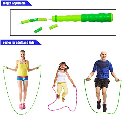 SKIPPING ROPE 11ft Pink//White YOGA PILATES Jump Rope