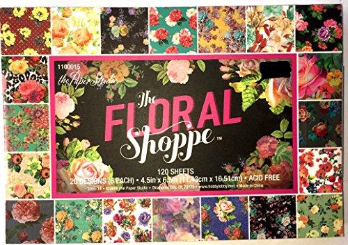 (Floral Shoppe 4.5x6.5 Paper Pad. 120 sheets, 20 Designs)