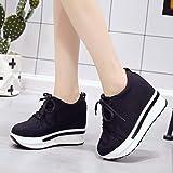 Sharemen Woman Fashion Casual Canvas Thick Platform Lace-up Wedges Shoe Work Shoes