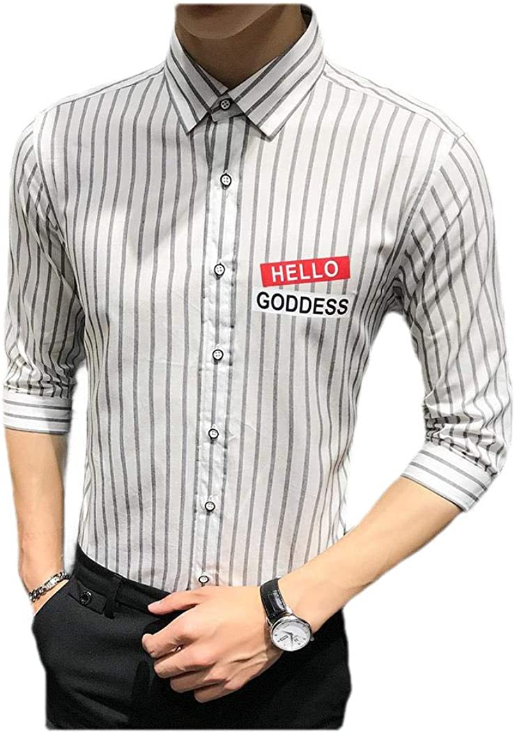 AngelSpace Mens Basic Cotton Stripe Short Sleeve Business Slim Fitted Shirts