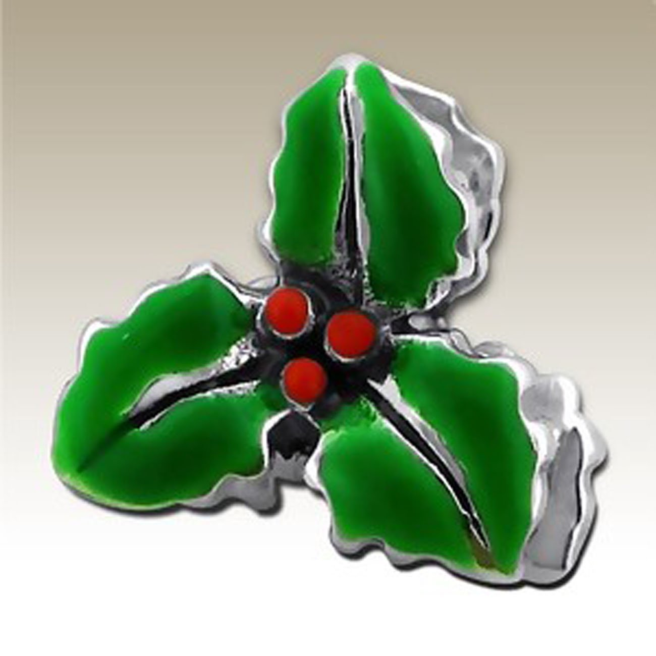 Small Holly Bead Charm Christmas Leaf Sterling Silver 925 (E10514)