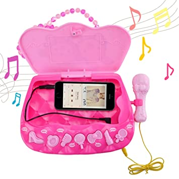 Amazon.es: HANMUN Girls Karaoke Machine Music Toys - Reproductor de música multifunción Moda Happy Girls Bolsa o Caja Femenina con música y luz 1 micrófono ...