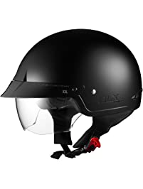Sniper M14 Half Helmet with Retractable Shield (Matte Black, Medium)