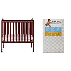 Dream On Me 2 in 1 Lightweight Folding Portable Stationary Side Crib with Dream On Me 3 Portable Crib Mattress, White