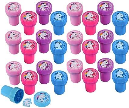 10pcs//sets Assorted DIY Self-Inking Plastic Stampers Set for Kids Ink Stamps UK