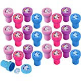Mini Plastic Rainbow Unicorn Stampers - Pack of 24 Pieces Unicorn Stamps for Kids - Assorted Toy Giveaways, My Little Pony Party Favors, Arts and Crafts Activity, Birthday Loot Bags and Piñata Filler