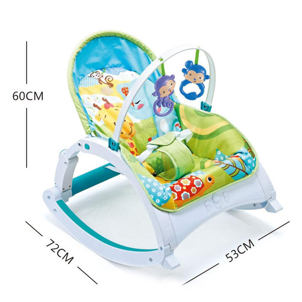 Child Printing Foldable Appease Shock Infant Rocking Chair, Portable Multifunction Adjustable Backrest Baby Toy Deck Chair Cradle Bed, with Three-Point Seat Belt by Infant to Toddler Swing Rocking Chair