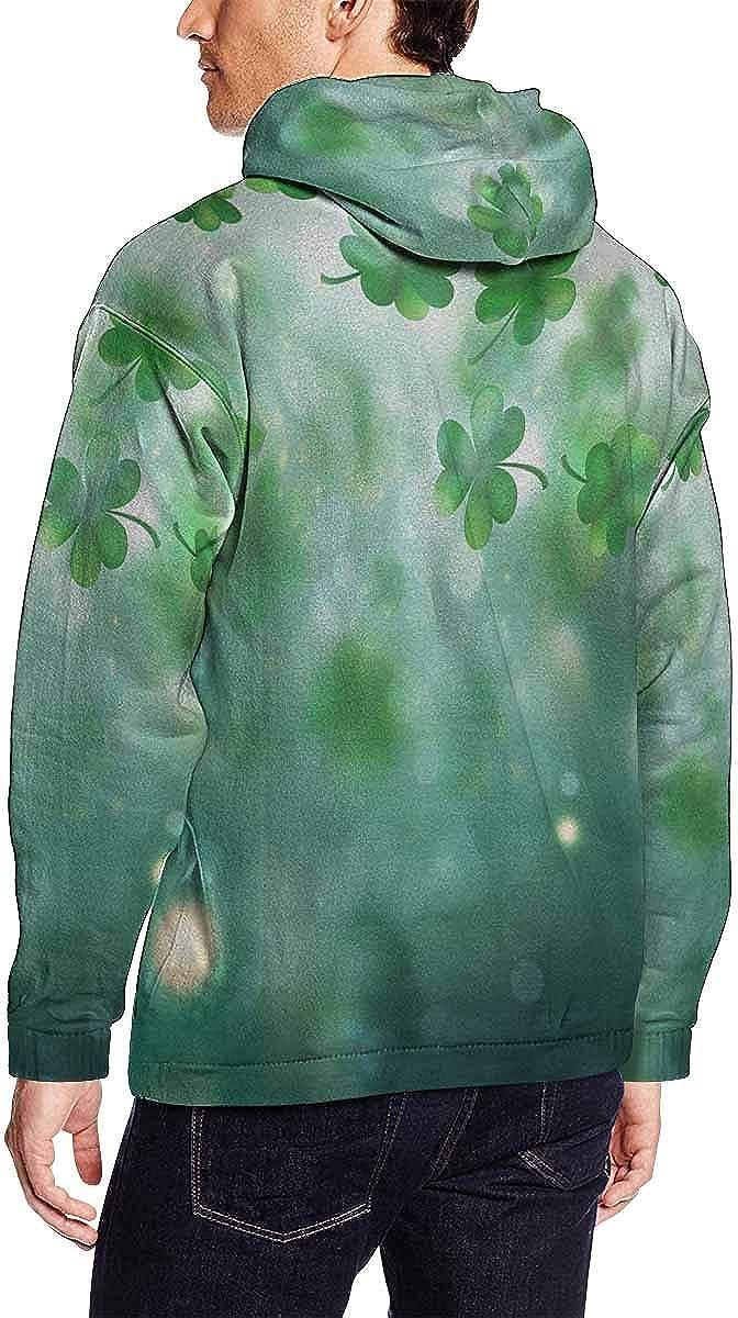 INTERESTPRINT Mens St Patrick S Day Background Pullover Hoodies Sweatshirt 3XL