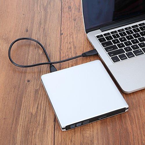 LeeKooLuu USB 3.0 External Ultra Slim DVD Burner Drive Aluminium DVD-RW/CD-RW Burner Super Drive (Silvery) (USB 3.0 Slivery) by LeeKooLuu (Image #2)