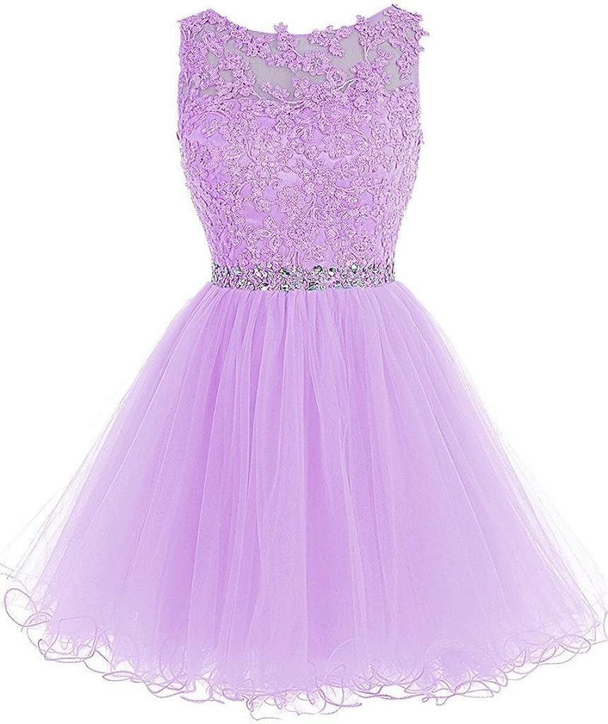 Shiningdress Womens Applique Crystals Tulle Mini Prom Bridesmaid Dress