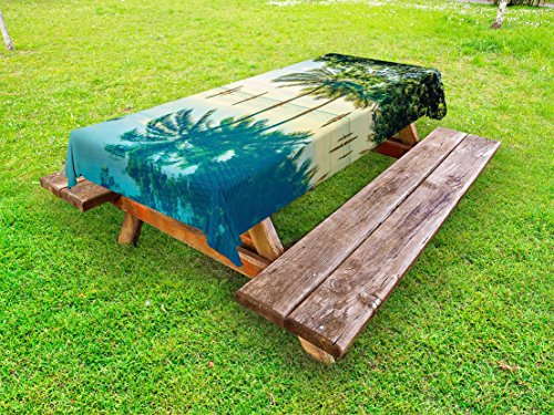 - Ambesonne Landscape Outdoor Tablecloth, Pool with Trees on The Surface No Filter Region Hot Spot Climate on Earth Theme, Decorative Washable Picnic Table Cloth, 58 X 120 Inches, Green Blue
