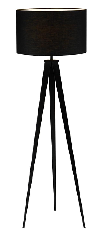 Adesso 6424–01 Director Floor Lamp - Black Tripod Floor Lamp - Lighting Fixture for Living Room, Bedroom. Home Decor Accessory