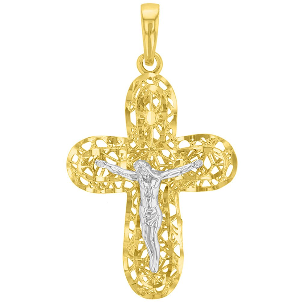 Textured 14K Yellow Gold and White Gold Fancy Religious Cross Jesus Crucifix Pendant Necklace