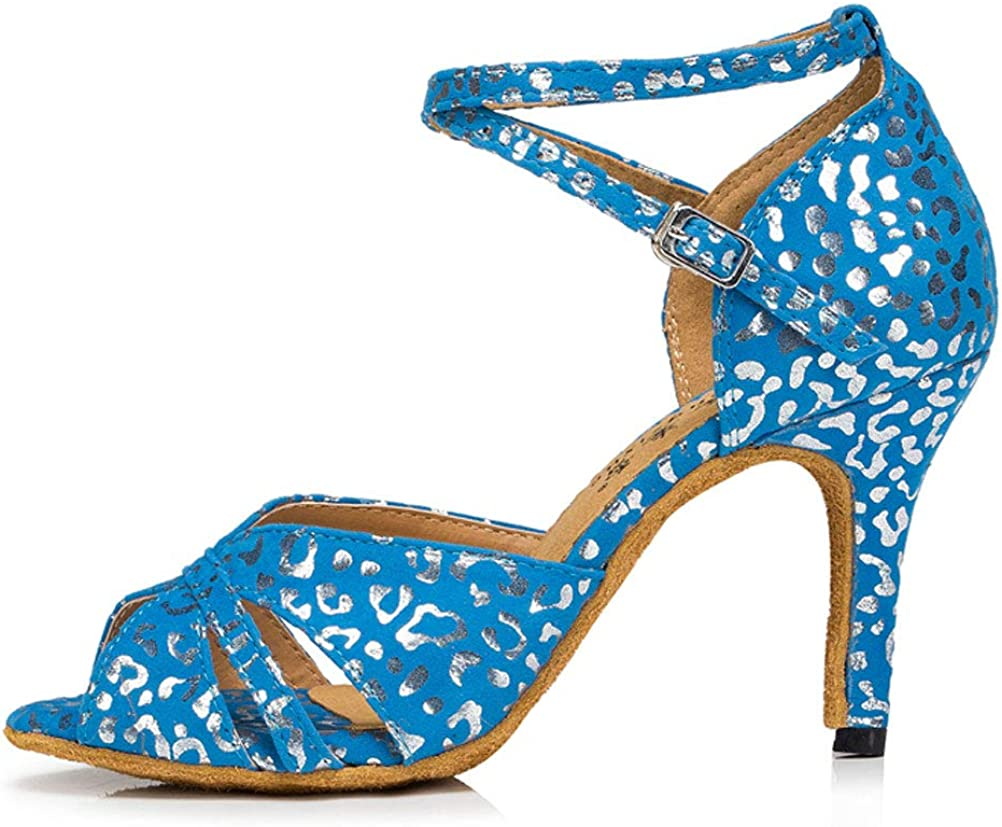 Womens Latin Dance Ballroom Shoes Tango Cha-cha Salsa ChaCha Party Prom 0018 Blue US Size9.5 2.4IN