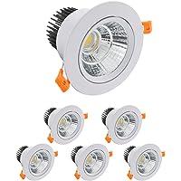 6 Pack LED Plafondinbouw Lampen,5W COB Spot,Warm Wit 6000K 500LM AC 220-240V,Uitsparing 65-80 mm,IP44,120 °Stralingshoek…