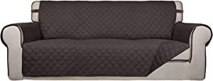 PureFit Reversible Quilted Sofa Cover, Water Resistant Slipcover Furniture Protector, Washable Couch Cover with Non Slip Foam and Elastic Straps for Kids, Pets (Oversized Sofa, Chocolate/Chocolate)
