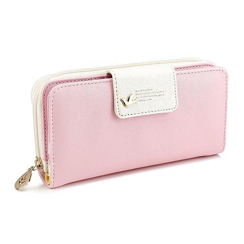 Amazon.com  GEARONIC TM New Fashion Lady Women PU Leather Cute Buckle Clutch  Wallet Long Card Holder Case Purse Handbag - Pink  Shoes 445f3b3be8