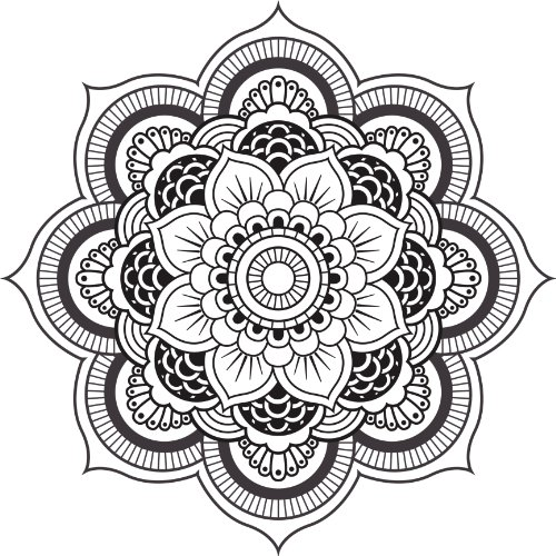 DETAILED MANDALA DESIGN BLACK WHITE Vinyl Decal Sticker Two in One Pack (12 Inches Wide)