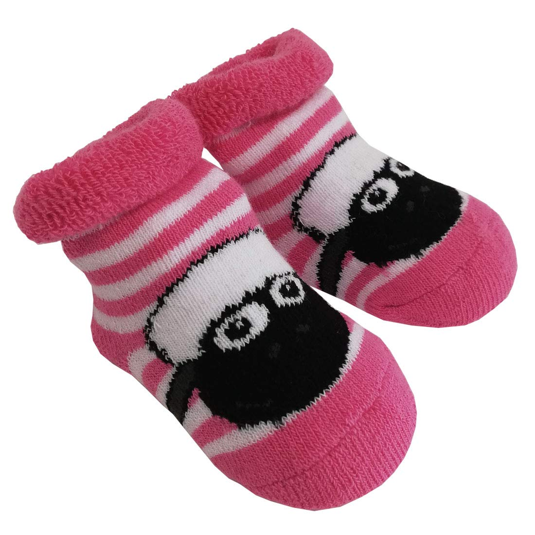 White and Pink Shamrock and Sheep Baby Socks