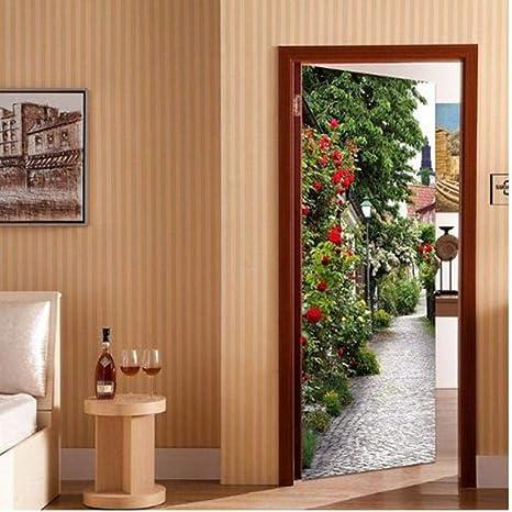 OTXA Pegatinas Puertas Pegatinas De Puerta Mural PVC Autoadhesivo Papel Tapiz 3D Sala De Estar Dormitorio Puerta Calcomanías De Decoración: Amazon.es: Deportes y aire libre