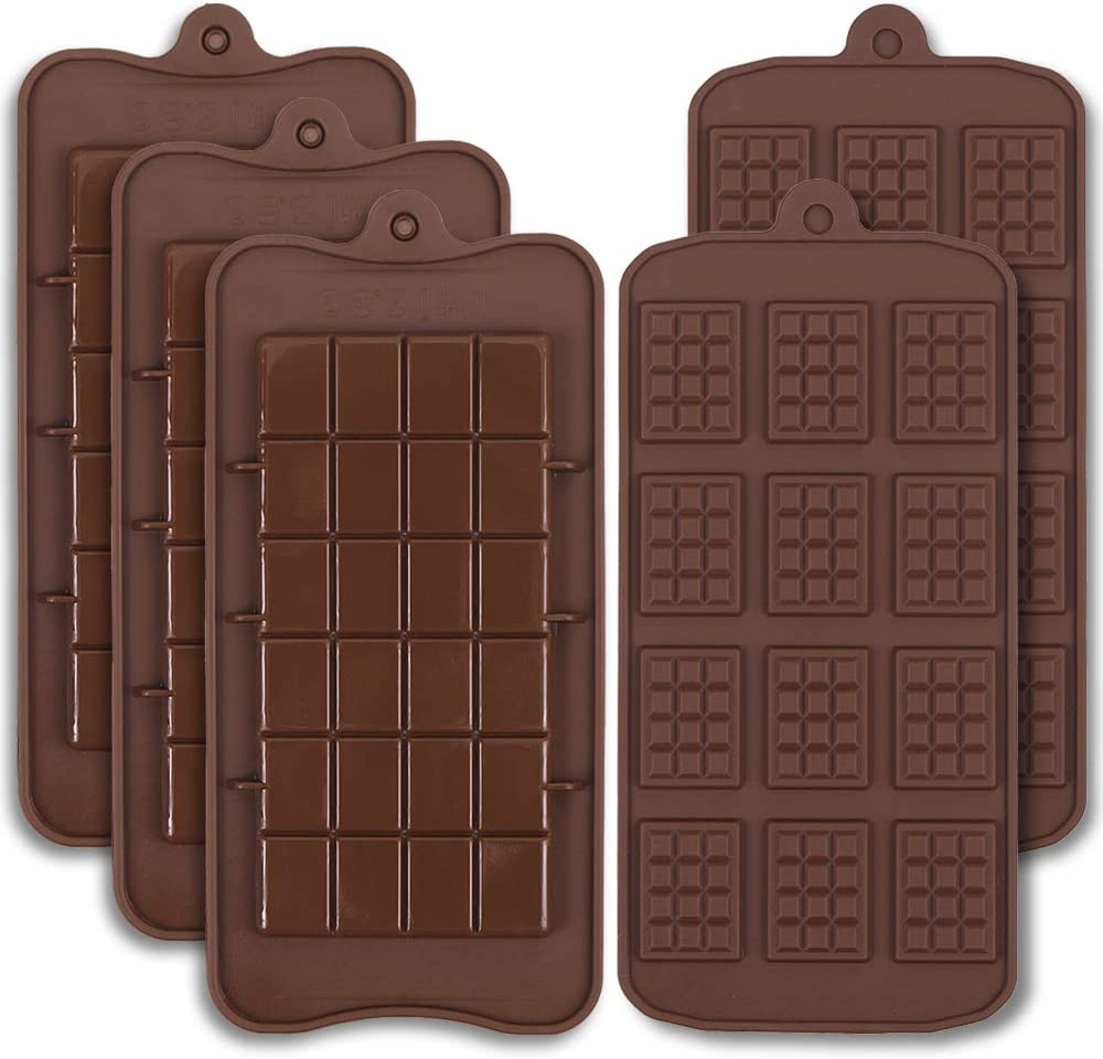 Cozihom Food Grade Silicone Break-Apart Chocolate Molds, Engery Bar, Cocao Bar, Candy Protein Mold, 5 PCS