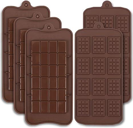 Cozihom Moldes de silicona de grado alimenticio para chocolate, barra de Engery, barra de cocao, molde de proteína de caramelo, 5 unidades