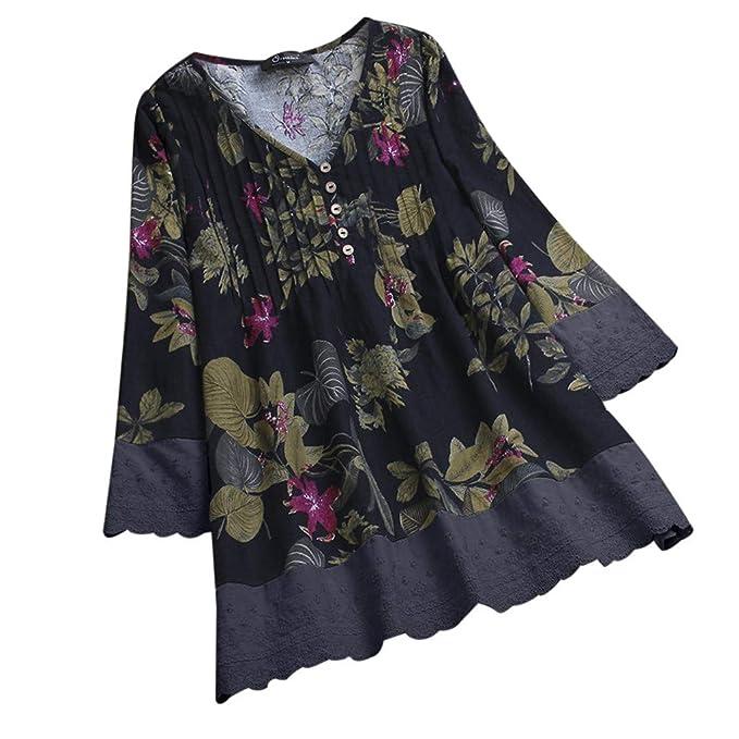 K-youth Camisas Mujer Manga Larga Sexy Vintage Impresión Blusas para Mujer Elegantes con Encaje