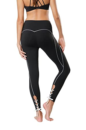 0636490263490d Tsuretobe Women Workout Leggings Fitness Athletic Clothes High Waisted  Exercise Yoga Pants Lace Up Running Activewear