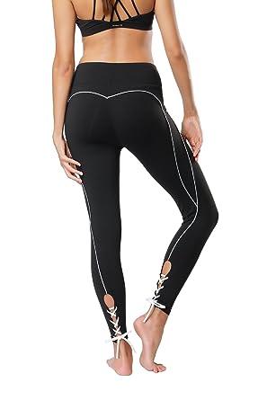 7c5a53af6b6ca Tsuretobe Women Workout Leggings Fitness Athletic Clothes High Waisted  Exercise Yoga Pants Lace Up Running Activewear: Amazon.co.uk: Clothing