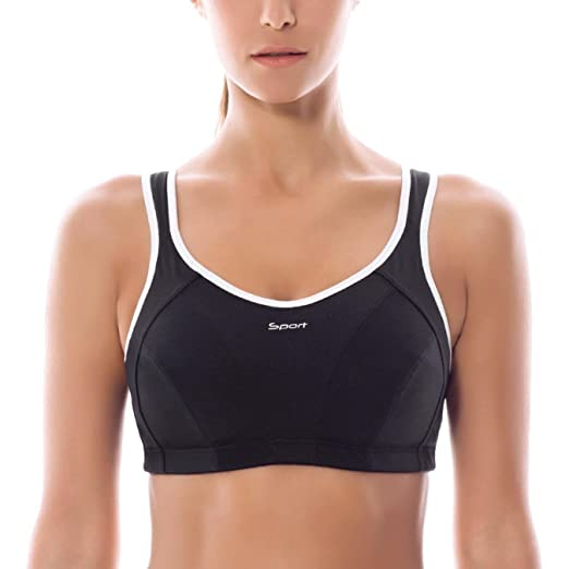 538af1554b Image Unavailable. Image not available for. Color  Women High Impact Wire  Free Non Padded Racerback Maximum Sports Bra