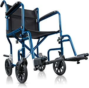 Drive Medical Hugo Portable Transport Wheelchair with detachable Footrests, Midnight Blue 1 count
