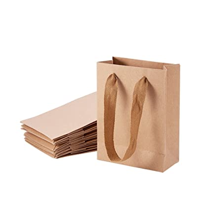 157c6feb1a NBEADS 10 PCS Small Kraft Brown Paper Bag Treat Candy Gift Bag Carrier Bags  with Handles