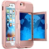 TabPow iPhone 6S Plus Case, Hidden Door Slim Wallet Case, Fits 2 Cards and Cash, Reinforced Drop Bumper Protection, Mirror, Front Frame Screen Protection For iPhone 6/6S Plus (5.5inch)-Rose Gold