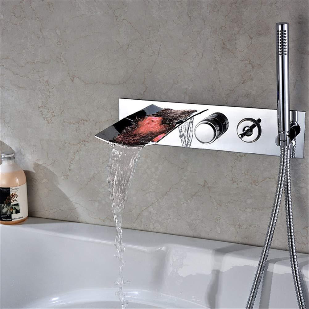 WYH Robinets de douche de baignoire en c/éramique Chrom/ée Syst/ème de douche contemporaine Robinets de m/élangeur de douche de baignoire cascade de luxe Robinets muraux de la baignoire