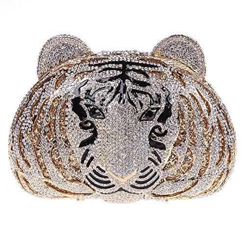 Tiger Clutch (Fawziya Tiger Purse For Women Luxury Rhinestone Clutch Evening Bag-Pure Gold)