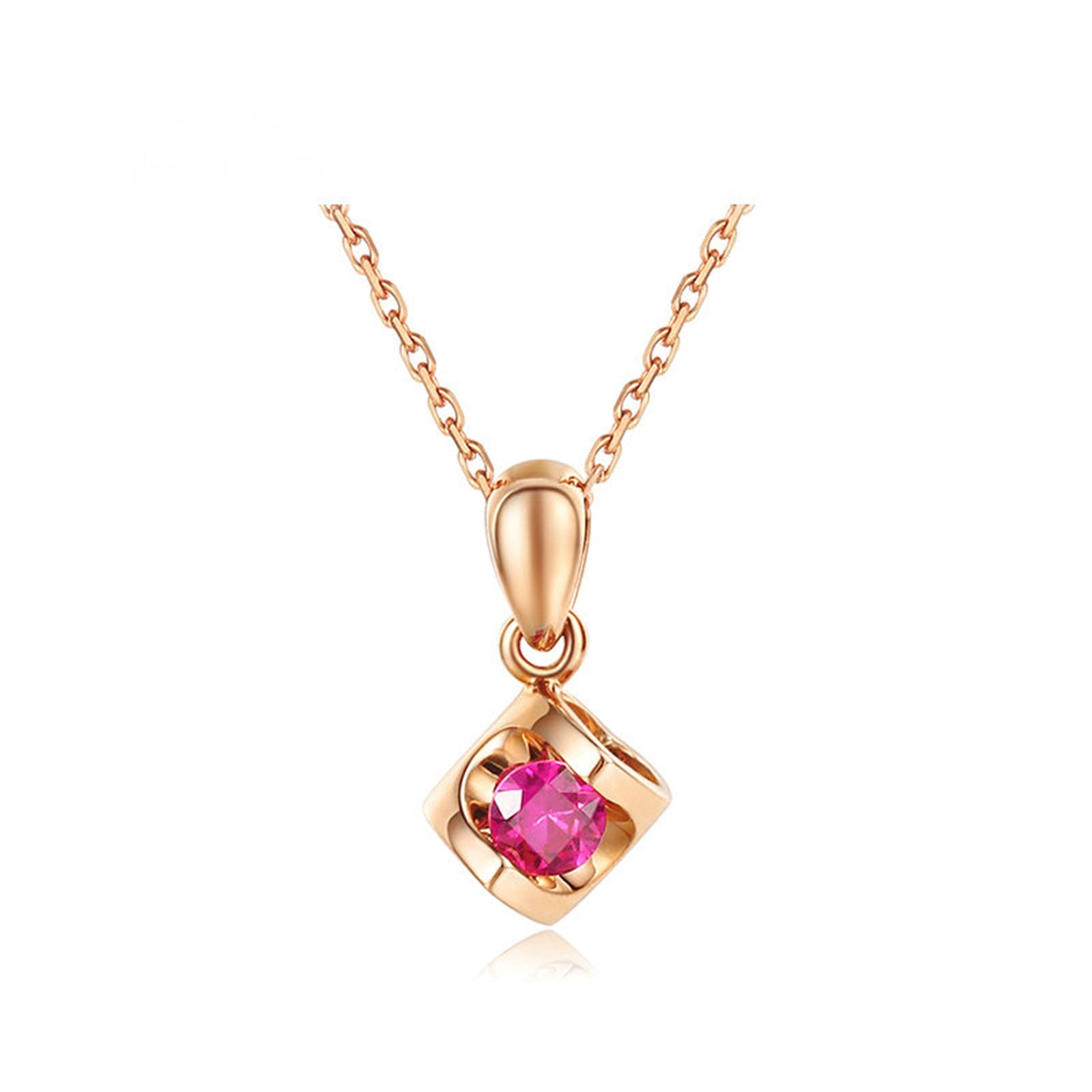 Daesar 18K Gold Necklace For Women Hollow Heart Cubic Zirconia Pendant Necklace Rose Gold Length: 40CM