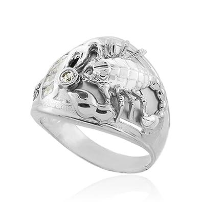 8fe6dc25f13d9 925 Sterling Silver Men's Solid Statement Scorpio Zodiac Ring|Amazon.com