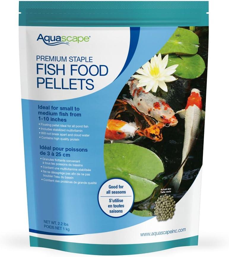 Aquascape Premium Staple Fish Food Pellets for Small to Medium Pond Fish, Medium Pellet, 2.2 Pounds | 98868