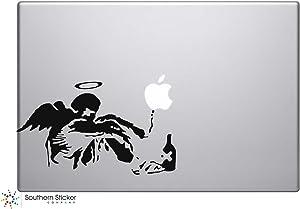 Banksy Fallen Angel Smoking Vinyl Car Sticker Symbol Silhouette Keypad Track Pad Decal Laptop Skin Ipad Macbook Window Truck Motorcycle (Black)