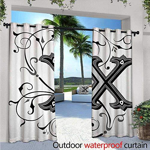 BlountDecor Letter X Balcony Curtains Renaissance Medieval X