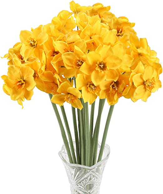 Amazon Com Nahuaa Narcissus Artificial Spring Flowers Silk Plants
