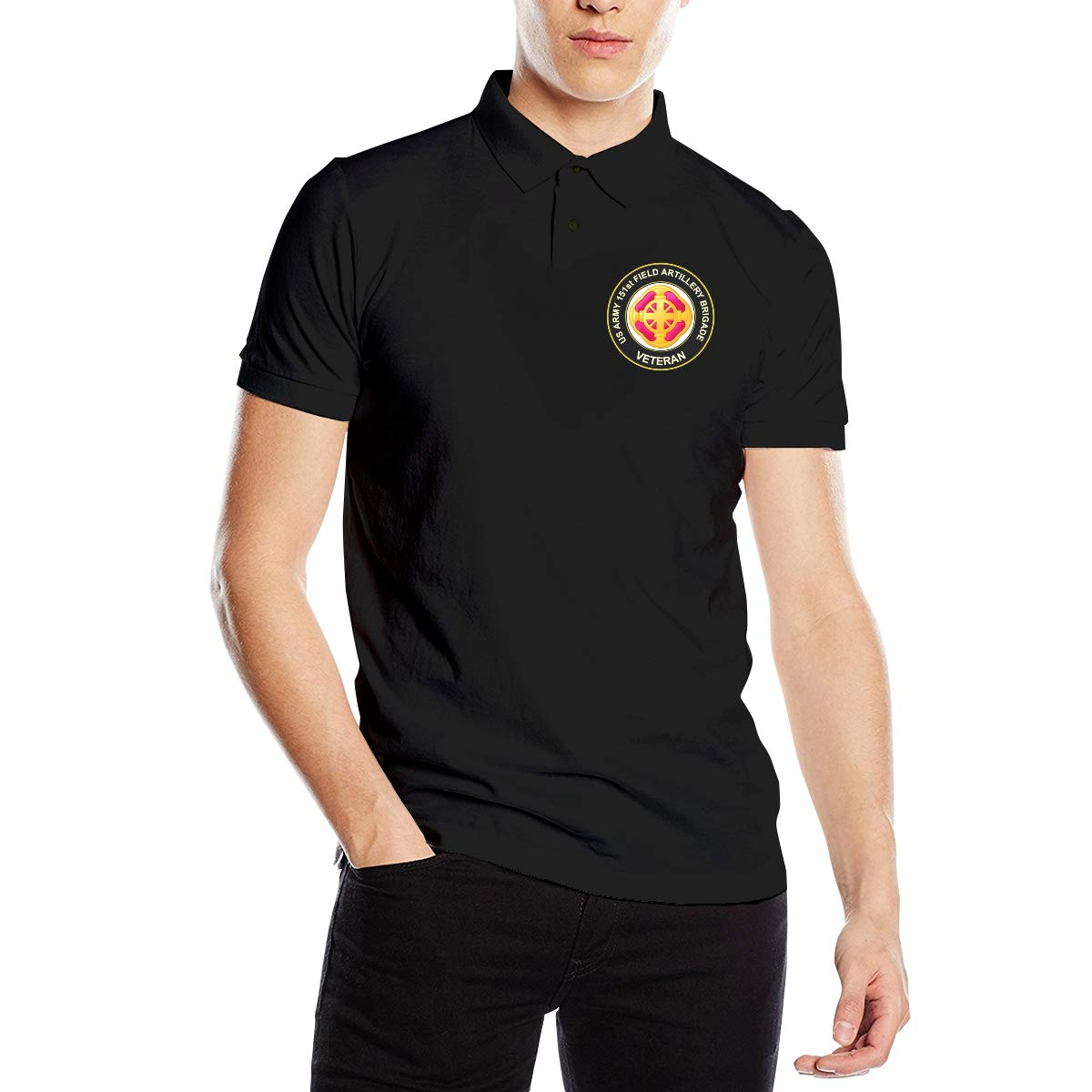 Army 151st Field Artillery Brigade Veteran Mens Regular-Fit Cotton Polo Shirt Short Sleeve You Know And Good U.S