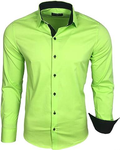 Hombre Contraste Basic camisas Business Ocio Manga Larga Traje boda Camisa R de 44, Verde, XXX-Large: Amazon.es: Ropa y accesorios