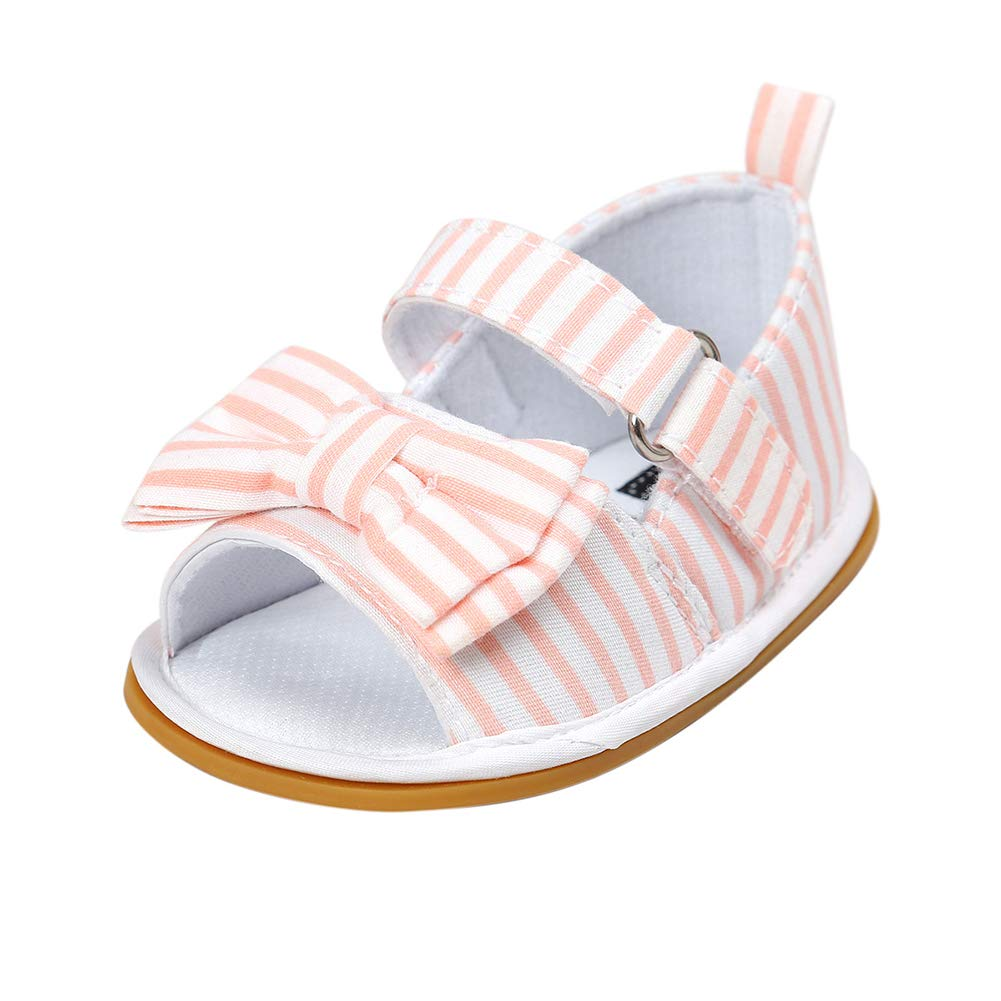 Pink Stripe 6-12 M dzsntsmgs Lovely Bowknot Hollowed Newborn Baby Summer Sandals Footwear Toddler Soft Shoes