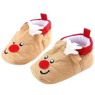 08e571d68c87d Binggong Unisex Chaussons Coton Souple - Chaussures Cuir Souple Premiers  Pas - Bébé Fille Chaussures Bébé Garçon-Père Noël Doux Sole Prewalker  Chaussures ...
