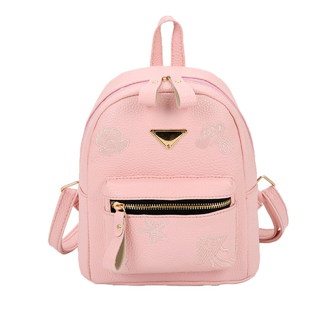 BCDshop Girl Cute Casual Daypack Faux Leather Fashion Mini Backpack Purse for Women (Pink)