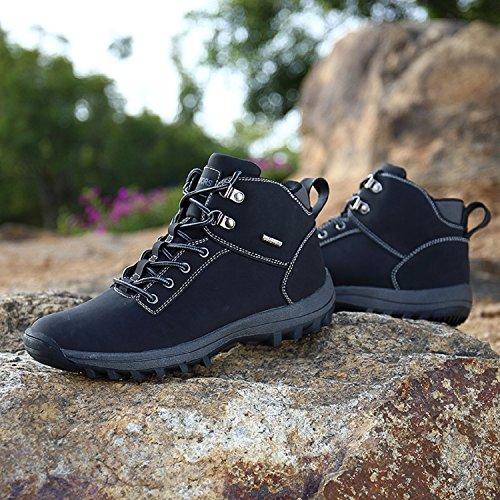 Deportes Hombre Negro Piel Senderismo Zapatos sin Rioneo Sneakers 39 46 Negro Khaki Forro Forro Impermeables Nieve Trekking Botas de Marrón fwRdRqY