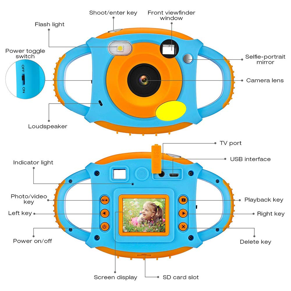 Kids Camera DIWUER Shockproof Digital Camera Children Creative Gift Mini Video Camcorder for Boys Girls with Soft Silicone Shell Mic Flash and 16GB Memory Card by DIWUER (Image #8)